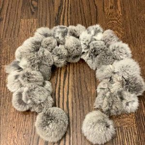 Real fur rabbit gray scarf